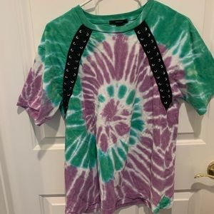 Green and purple tie dye shirt